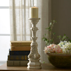 Vintage White Scroll Candlestick, 16 in.