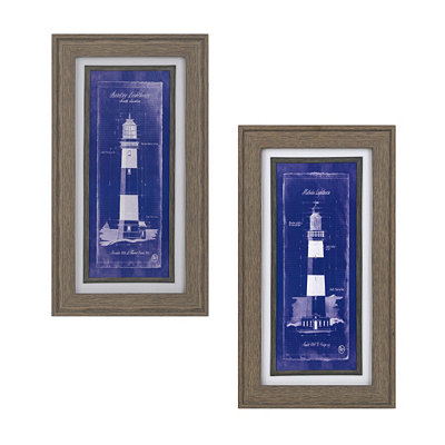 Lighthouse Blueprint Framed Art Prints