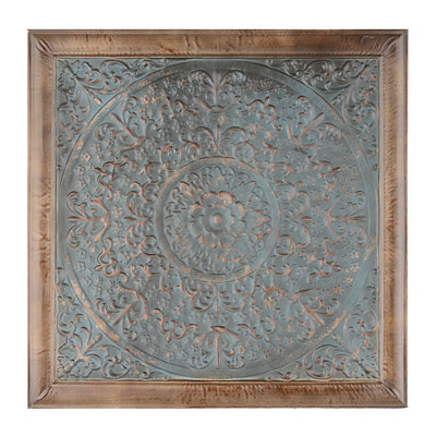 Rosette Teal Tile Wall Plaque