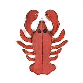 Distressed Red Lobster Wooden Plaque