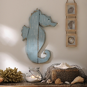 Distressed Blue Seahorse Wooden Plaque