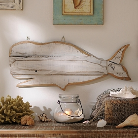 Distressed White Whale Wooden Plaque