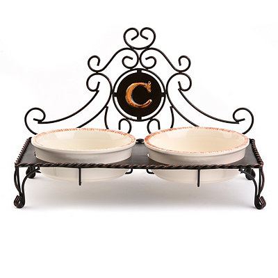 Bronze Monogram C Double Bowl Pet Feeder
