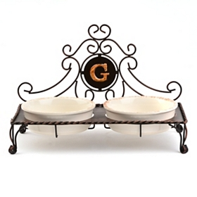 Bronze Monogram G Double Bowl Pet Feeder