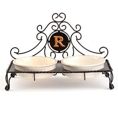 Bronze Monogram R Double Bowl Pet Feeder