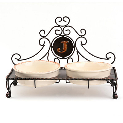 Bronze Monogram J Double Bowl Pet Feeder