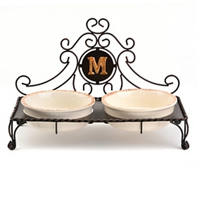 Bronze Monogram M Double Bowl Pet Feeder