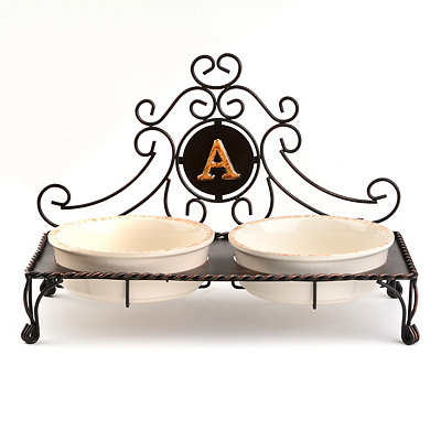 Bronze Monogram A Double Bowl Pet Feeder
