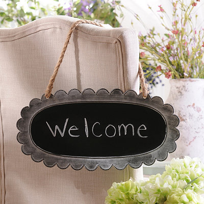 Oval Antique White Metal Chalkboard