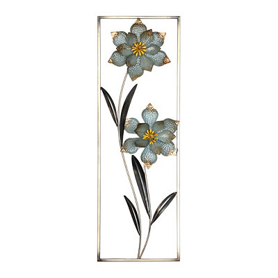 Cottage Blue Floral I Metal Wall Plaque