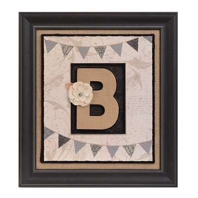 Burlap Monogram B Framed Wall Plaque
