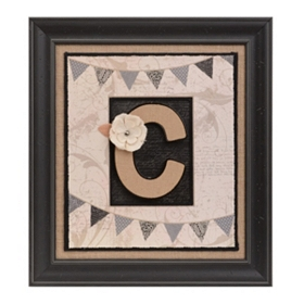 Burlap Monogram C Framed Wall Plaque