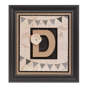 Burlap Monogram D Framed Wall Plaque