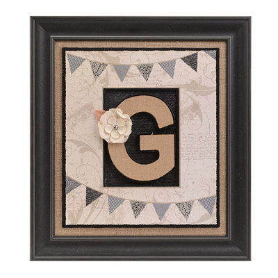 Burlap Monogram G Framed Wall Plaque