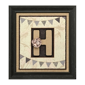 Burlap Monogram H Framed Wall Plaque