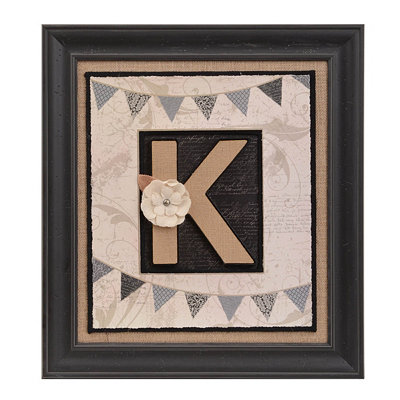 Burlap Monogram K Framed Wall Plaque