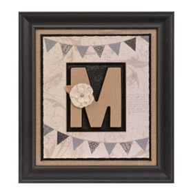 Burlap Monogram M Framed Wall Plaque