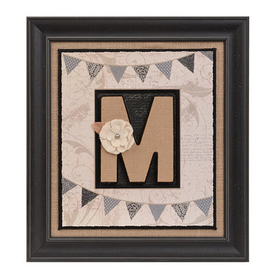 Burlap Monogram M Framed Wall Plaque