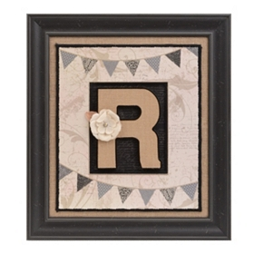 Burlap Monogram R Framed Wall Plaque