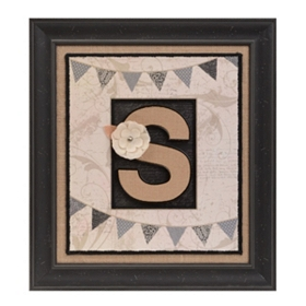 Burlap Monogram S Framed Wall Plaque