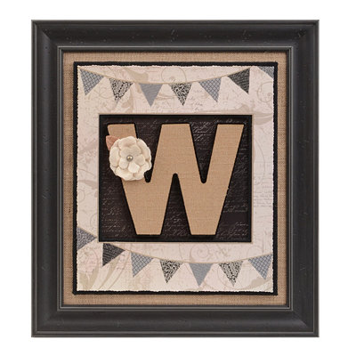 Burlap Monogram W Framed Wall Plaque
