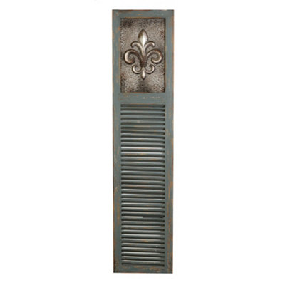 Distressed Blue Fleur-de-Lis Wooden Shutter Panel