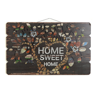 Wooden Slat Home Sweet Home Plaque