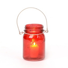 Red Mason Jar Candle Holder