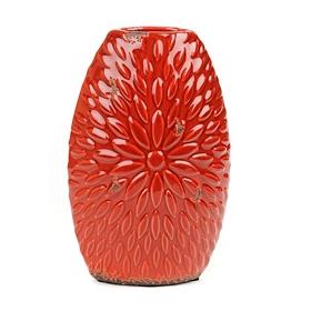 Red Ceramic Flower Burst Vase