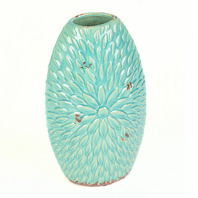Turquoise Ceramic Flower Burst Vase