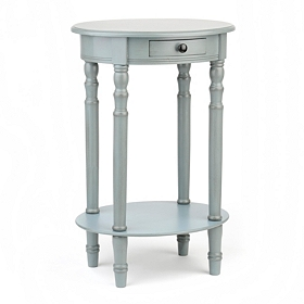 Arctic Blue Oval Accent Table