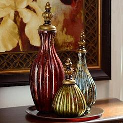 Jewel Tone Bottles, Set of 3