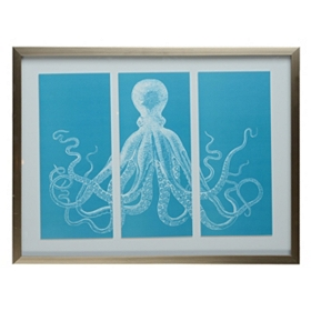 Teal Octopus Framed Art Print