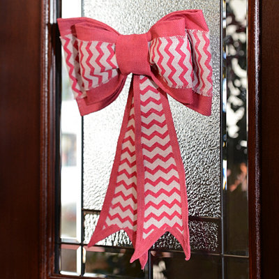 Pink and Blue Chevron Burlap Door Bow