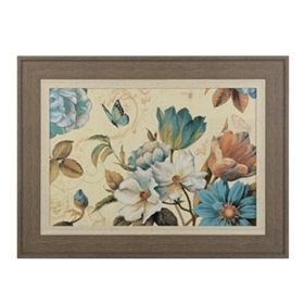 Teal Poesie Floral Framed Art Print