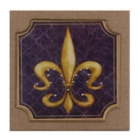 Purple & Gold Fleur-de-Lis Burlap Plaque