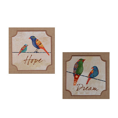 Patchwork Bird Sentiment Burlap Plaques
