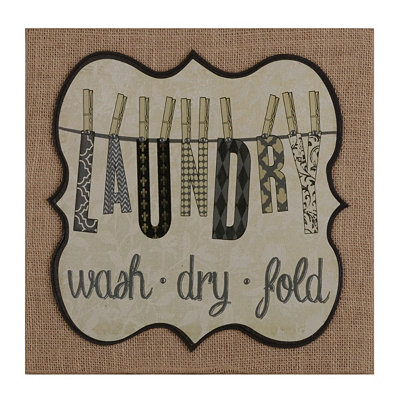 Black & White Laundry Burlap Plaque