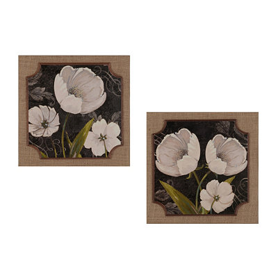 Black & White Tulips Burlap Plaques