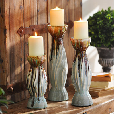 Blue & Brown Drip Candle Holders, Set of 3