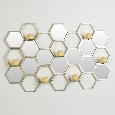 Honeycomb Mirrored 7-Pillar Candle Holder