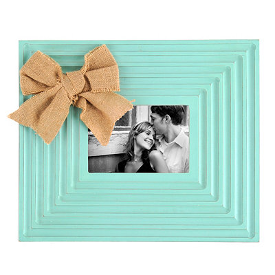 Burlap Bow Blue Picture Frame, 5x7