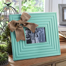 Burlap Bow Blue Picture Frame, 5x7