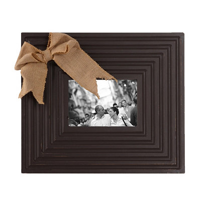 Burlap Bow Brown Picture Frame, 5x7