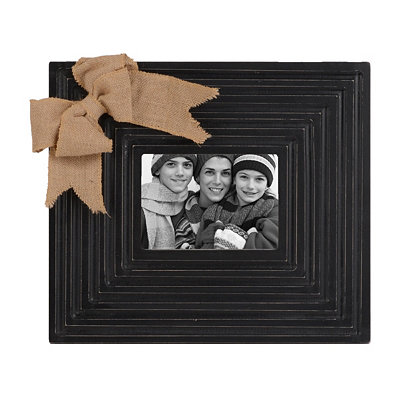 Burlap Bow Black Picture Frame, 5x7
