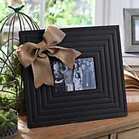 5x7 Inch Burlap Bow Black Picture Frame