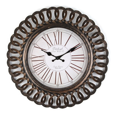 Antiqued Black Interline Wall Clock