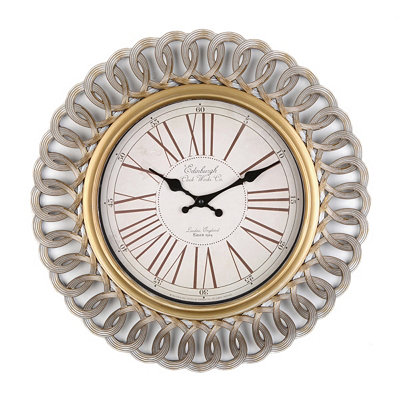 Antiqued Silver Interline Wall Clock