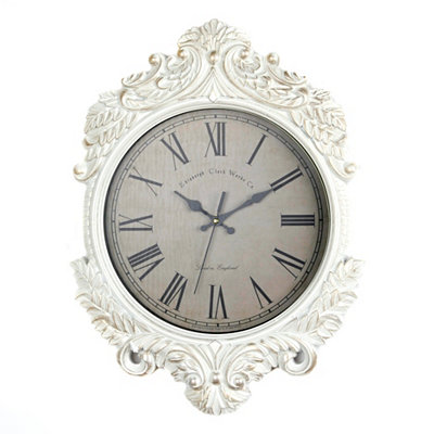 Ornate White Gold Wall Clock