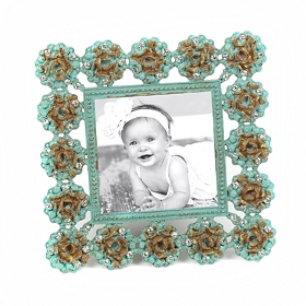 Turquoise Rosette Picture Frame, 4x4